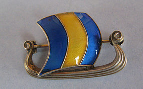 Norwegian Sterling and Enamel Viking Ship Pin, c. 1960