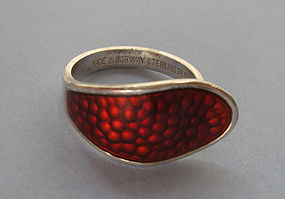 Norwegian Sterling and Enamel Ring, c. 1960