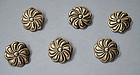 Six Mexican Sterling Buttons, c. 1950