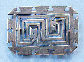 Mexican Sterling Openwork Pin, c. 1940