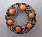 Sterling and Faux Coral Circle Pin, c. 1950