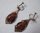 Handmade Drop Earrings With Reddish Stone, c. 1950