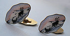 Sterling and Enamel Cuff Links, Nordic Scenes, c. 1960