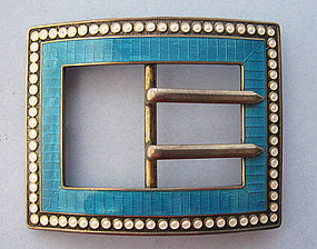 American Sterling and Enamel Buckle Brooch, c. 1915