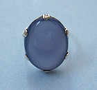 Sterling and Blue Chalcedony Ring, c. 1950