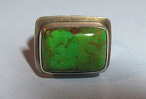 Sterling and Art Glass Ring, c. 1980