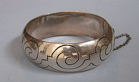 Mexican Sterling Incised Bangle, c. 1970