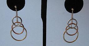 Three-Color Gold Loop Earrings, c. 1975