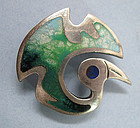 Peruvian Sterling and Enamel Bird Pin, c. 1960