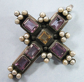 Arts and Crafts-Style Cross Pendant, c. 1990