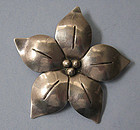 Handmade Sterling Flower Pin, c. 1960
