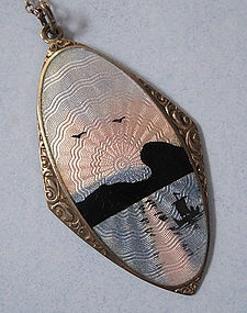 Norwegian Sterling Enameled Pendant, c. 1960