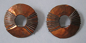 Marjorie Baer Mixed Metal Earrings, c. 1980
