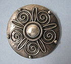 European Silver Disc Pin, c. 1950