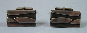 Modernist Sterling Cuff Links, c. 1950
