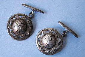 Silver Cuff Links, Ecuador, c. 1950