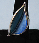Sterling and Enamel Leaf Ring, c. 1975