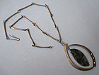 Handmade Sterling and Agate Pendant, Chain, c. 1970