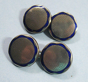 Silver and Enamel Cuff Links, c. 1960