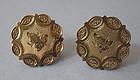 American 14kt Engraved Earrings, c. 1880
