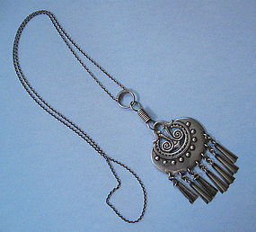Finnish Sterling Pendant Necklace, Kalevala Koru, 1971