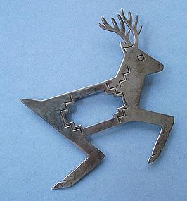 Sterling Reindeer Pin, Navajo, c. 1990