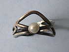 Sterling and Pearl Openwork Ring, c. 1960