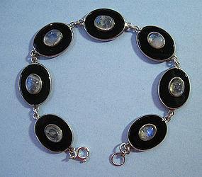 Onyx and Moonstone Bracelet, c. 1950