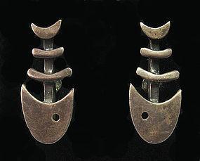 Modernist Sterling Fish Earrings, c. 1965