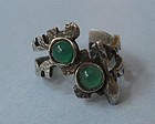 Spanish Silver and Chrysoprase Ring, c. 1970