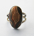 Sterling and Agate Ring, c. 1980