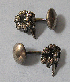 Sterling Flower Cuff Links, c. 1900