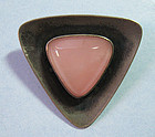 Sterling and Rose Quartz Pin, N.E. From, c. 1965