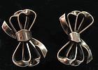 Sterling Bow Earrings, c. 1950