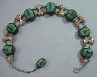 Egyptian Silver and Scarab Bracelet, c. 1950