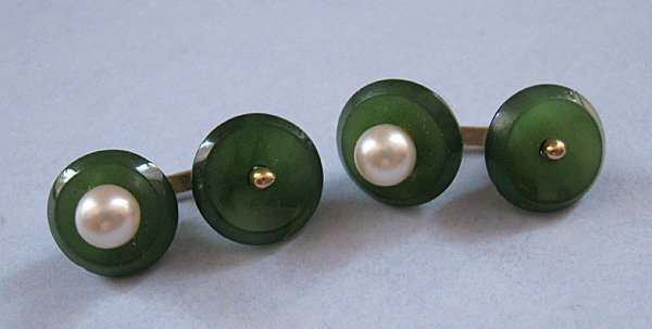 Jade and Pearl Cuff Links, c. 1960