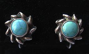 Small Sterling Sunburst Earrings