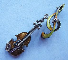 German Sterling Violin Pin