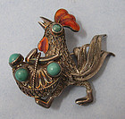 Asian Silver Filigree Rooster Pin