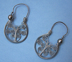 Mexican Sterling Wirework Earrings