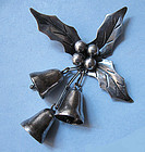 Mexican Sterling Bell and Holly Pin