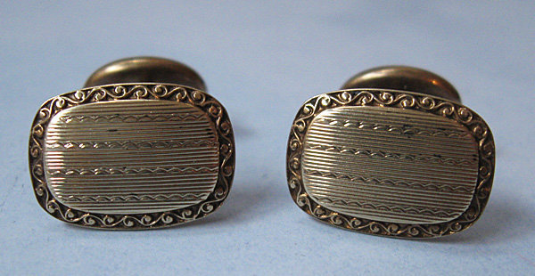 American Gold Engraved Cuff Links