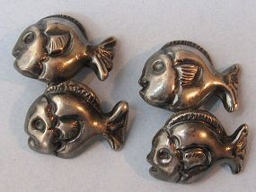 Mexican Sterling Fish Cuff Links