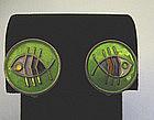 Pair of Sterling and Enamel Fish Earrings, c. 1960