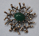 Sterling and Chrysoprase Modernist Pin, c. 1960