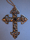 Sterling, Gold, Amethyst Arts and Crafts Cross, c. 1920
