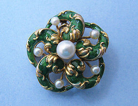 Gold, Enamel and Pearl Watch Pin/Pendant, c. 1910