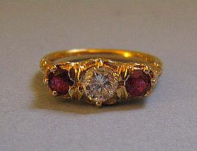 Three-Stone 18 kt Ruby and Diamond Ring, c. 1920
