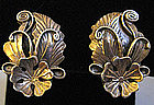 Sterling Silver Flower and Leaf Earrings, c. 1940