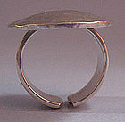 Sterling Hammered Disc Ring, c. 1970